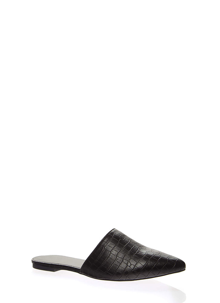 Cool As A Crocodile Pointy Mule Flats BLACK
