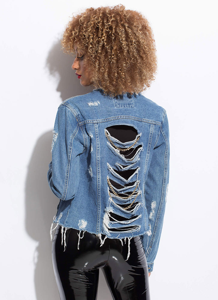 Back Up Chained Destroyed Jean Jacket BLUE