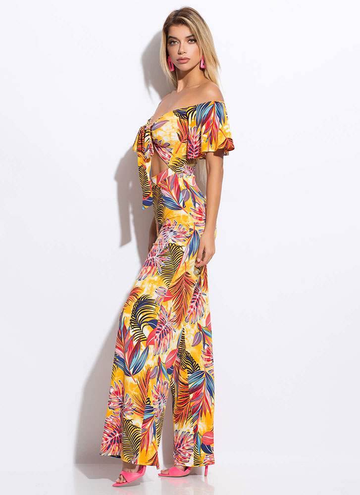 Tropical Cocktail Off-Shoulder Jumpsuit YELLOWMULTI (Final Sale)