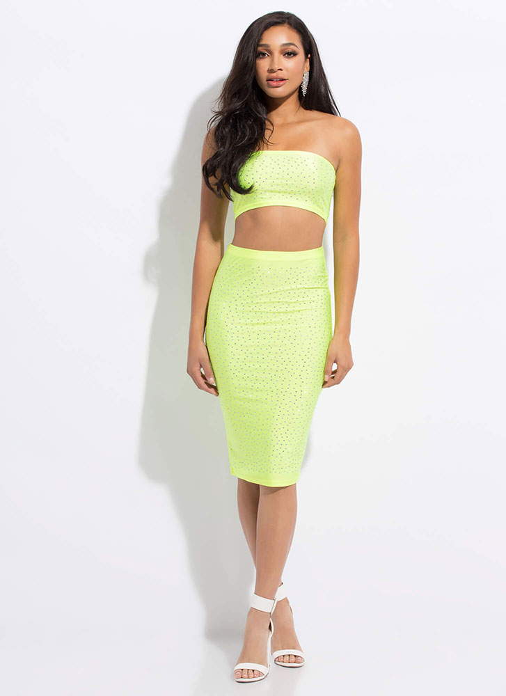 I Sparkle Rhinestone Top And Skirt Set NEONGREEN