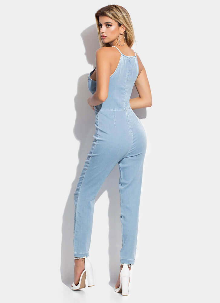 Just Relax Denim Chambray Jumpsuit LTBLUE
