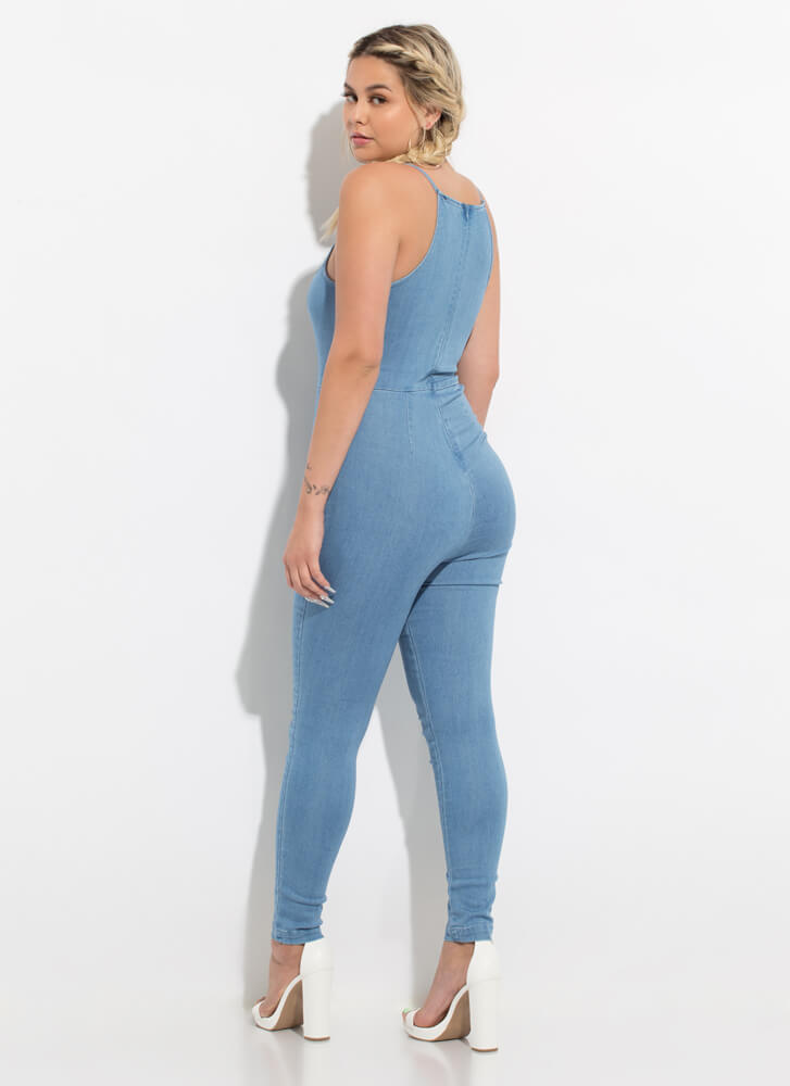 Just Relax Denim Chambray Jumpsuit MEDBLUE