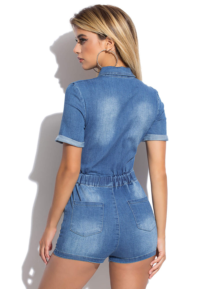 Snap-Worthy Knotted Denim Romper BLUE