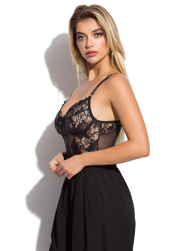 Intimate Details Lace And Mesh Bodysuit BLACK (Final Sale)