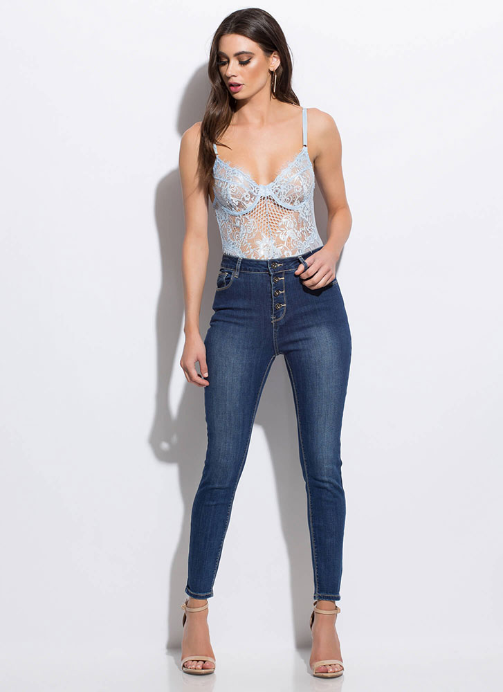 Intimate Details Lace And Mesh Bodysuit BLUE (Final Sale)