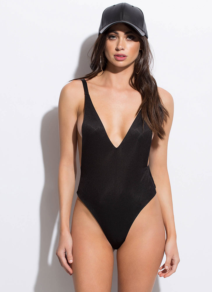 Side Piece Plunging High-Cut Bodysuit BLACK