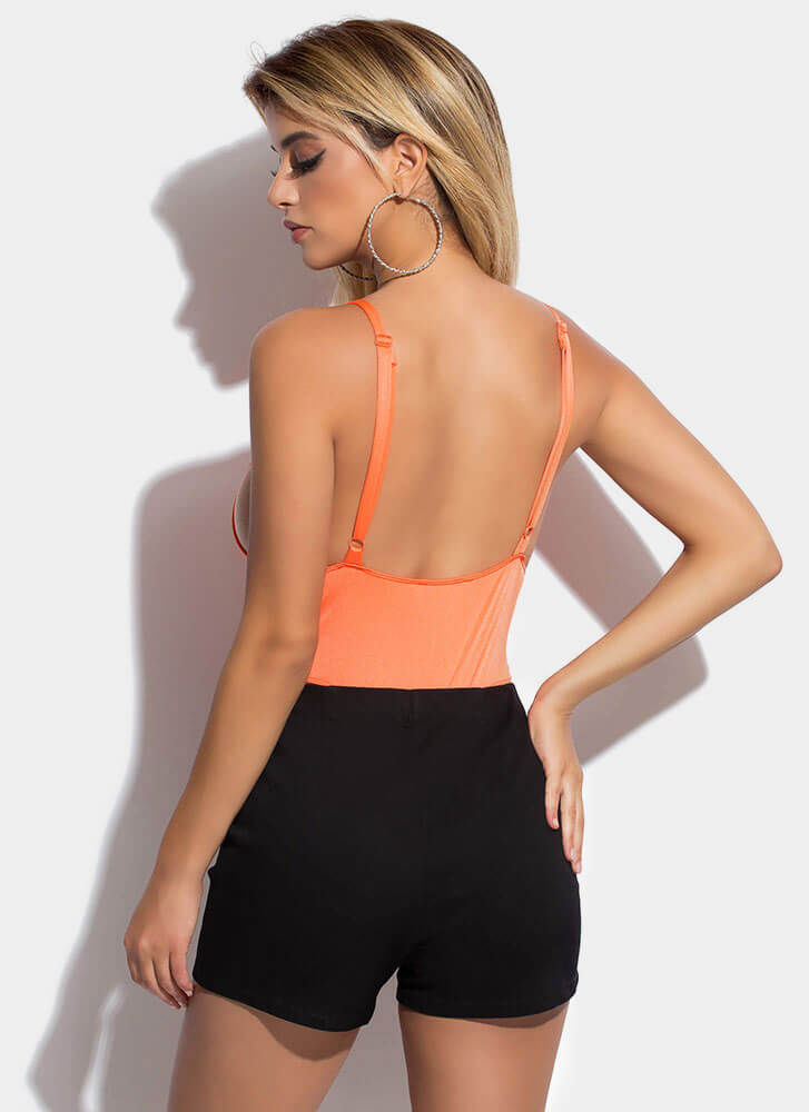 Side Piece Plunging High-Cut Bodysuit NEONORANGE