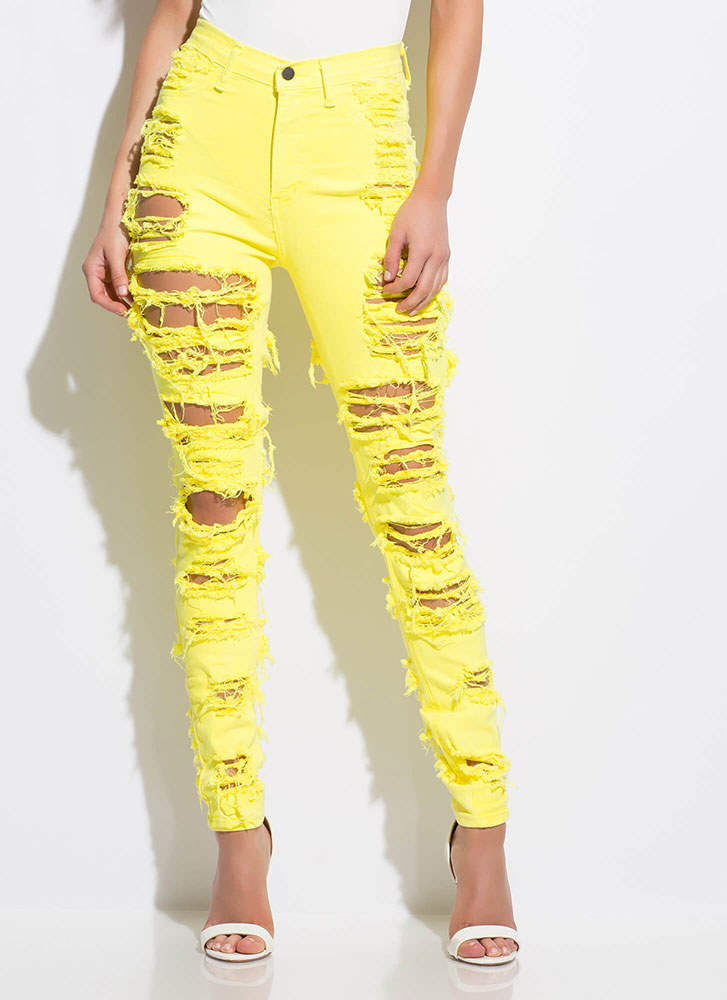 Get Shredded Destroyed Skinny Jeans NEONYELLOW