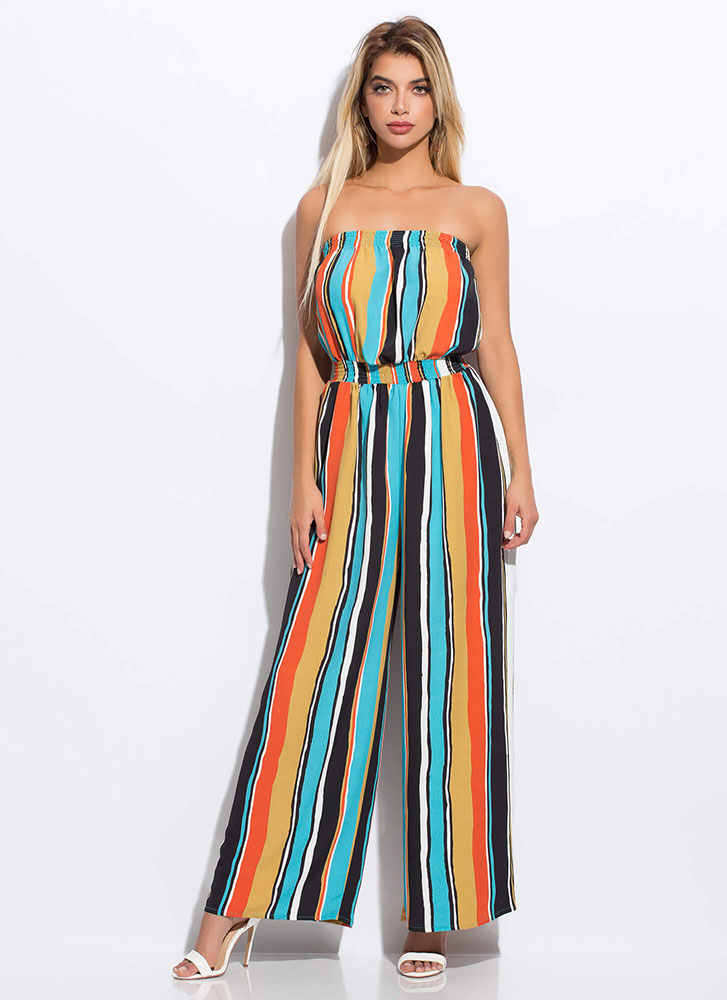 Cabana Striped Strapless Jumpsuit AQUAMULTI