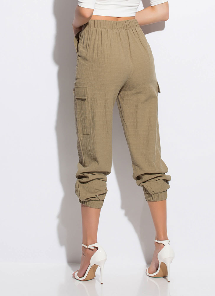 It's So Easy Cotton Cargo Joggers OLIVE