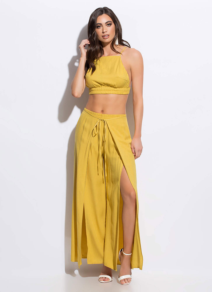 Slits Time For Vacation Palazzo Pant Set MUSTARD