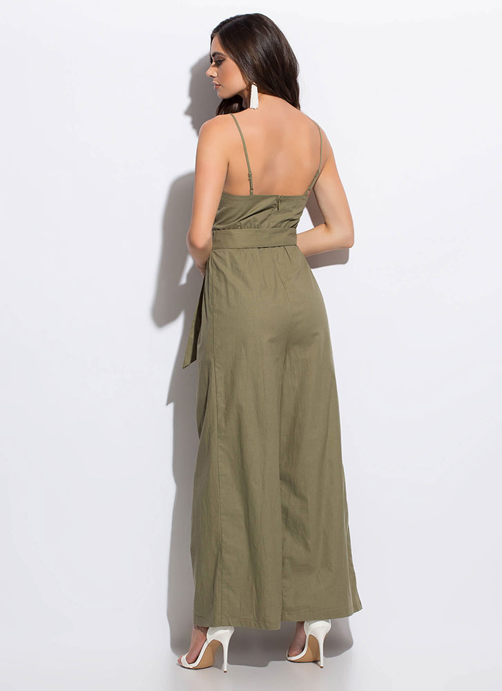 The Weekender Belted Palazzo Jumpsuit OLIVE