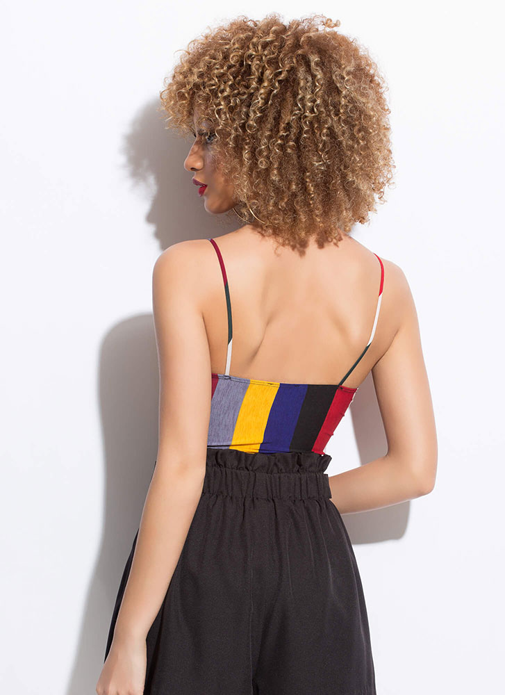 Color And Pattern Striped Bodysuit BLACKMULTI
