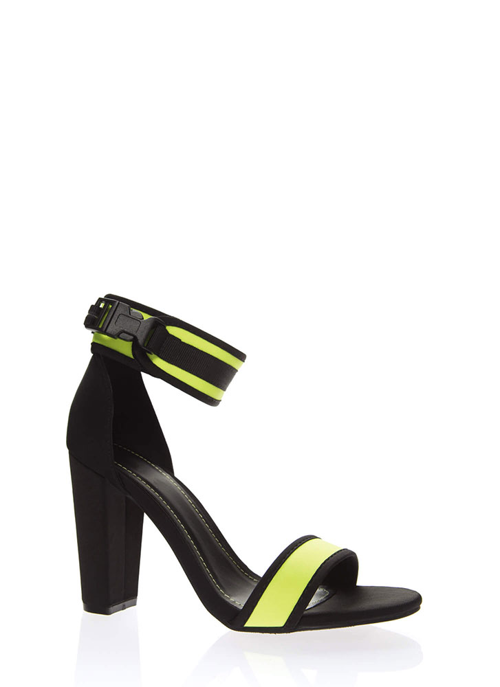 Sporty Vibes Buckled Chunky Heels NEONYELLOW