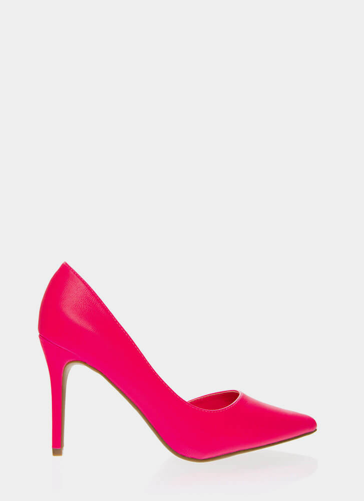 Best Side Story Pointy Cut-Out Pumps NEONPINK
