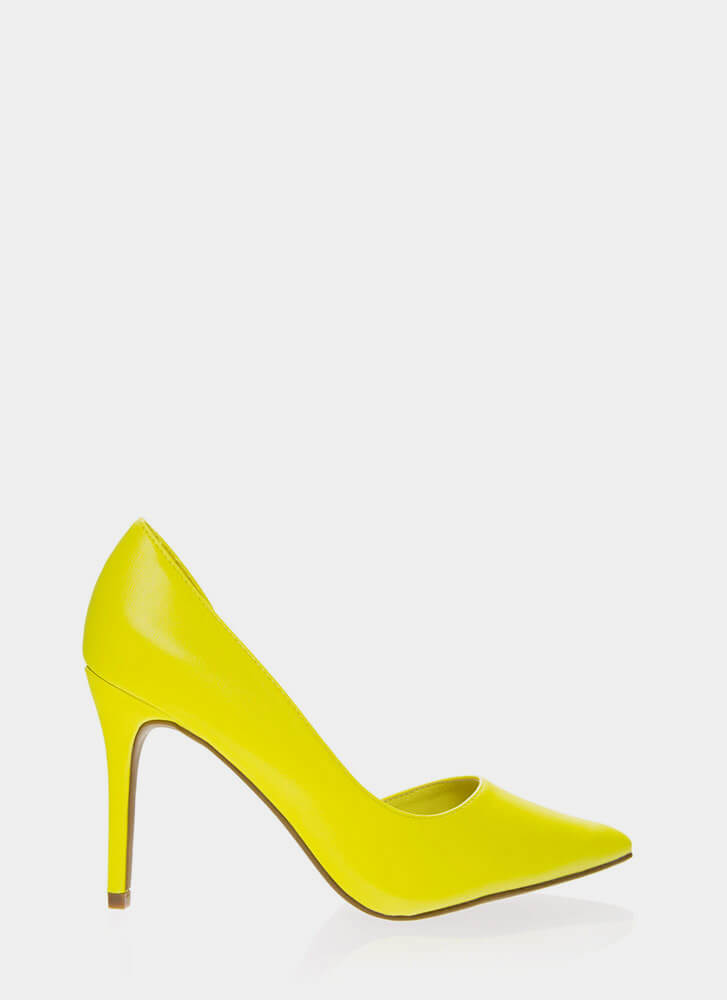 Best Side Story Pointy Cut-Out Pumps NEONYELLOW (Final Sale)