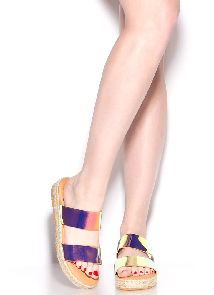 Perfect Platform Holographic Sandals MULTI