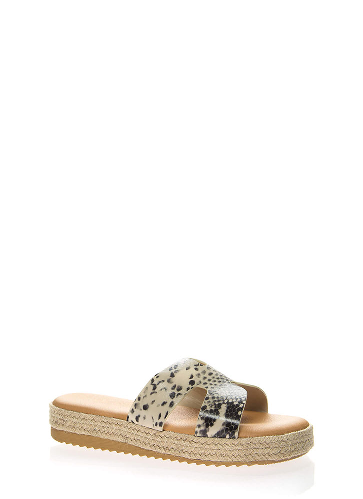 Just Superb Braided Faux Snake Sandals BEIGE