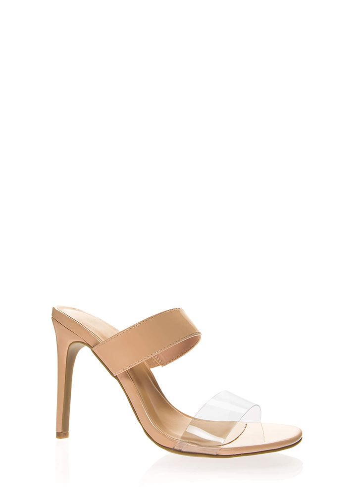 Timeless Faux Patent Clear Strap Heels NUDE