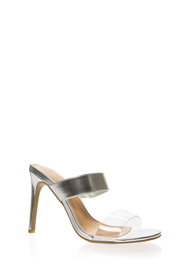 Timeless Metallic Clear Strap Heels SILVER
