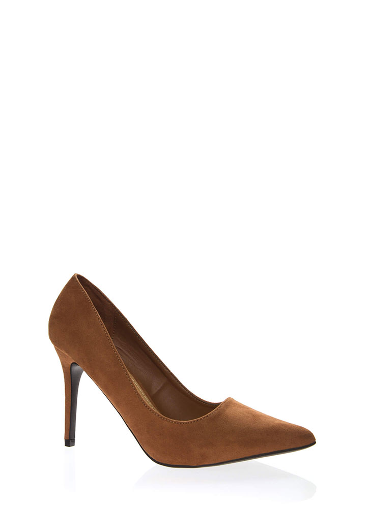 Sexual Heeling Pointy Faux Suede Pumps DKCAMEL