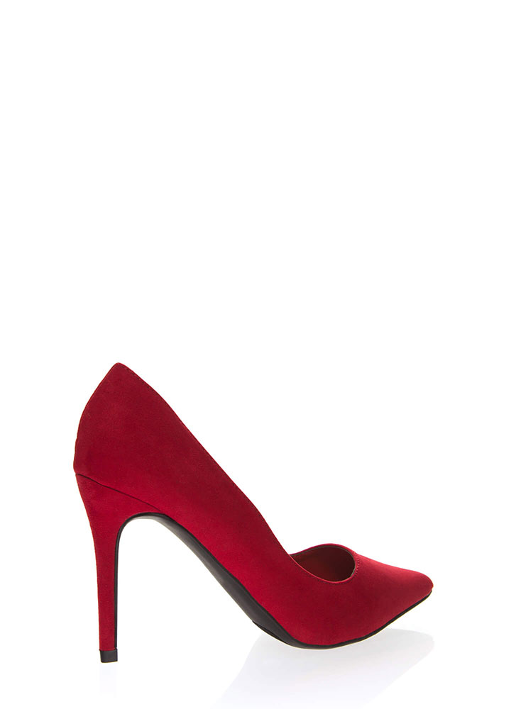 Sexual Heeling Pointy Faux Suede Pumps RED