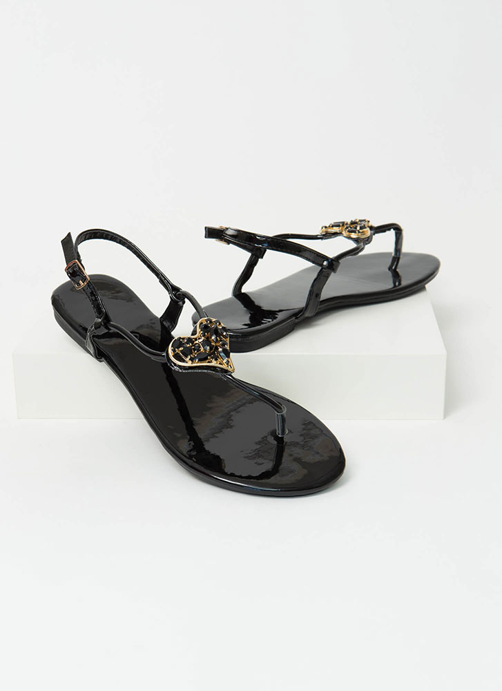 All My Heart Jeweled T-Strap Sandals BLACK