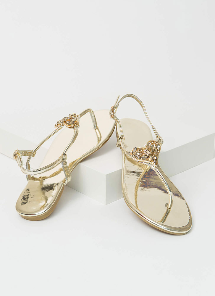 All My Heart Jeweled T-Strap Sandals GOLD