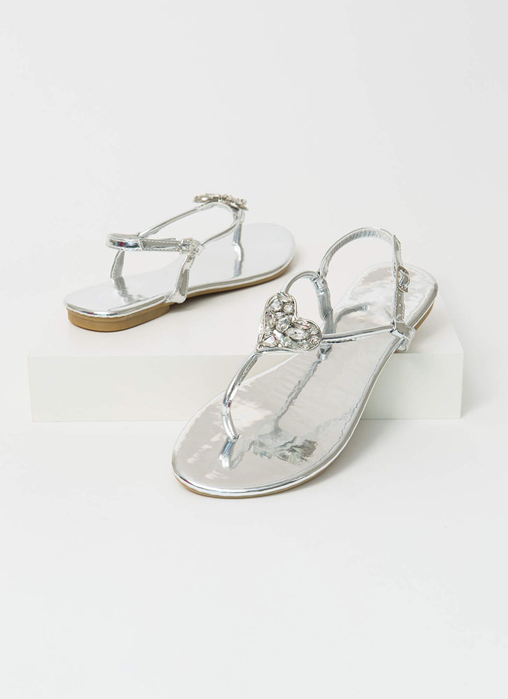 All My Heart Jeweled T-Strap Sandals SILVER