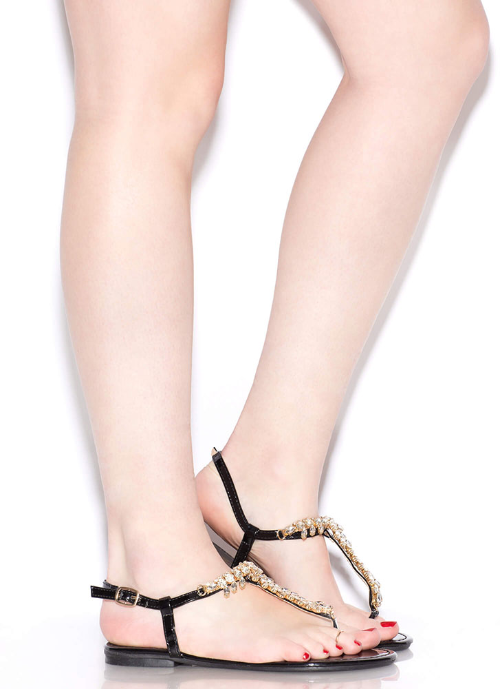 Leafy Paradise Jeweled T-Strap Sandals BLACK