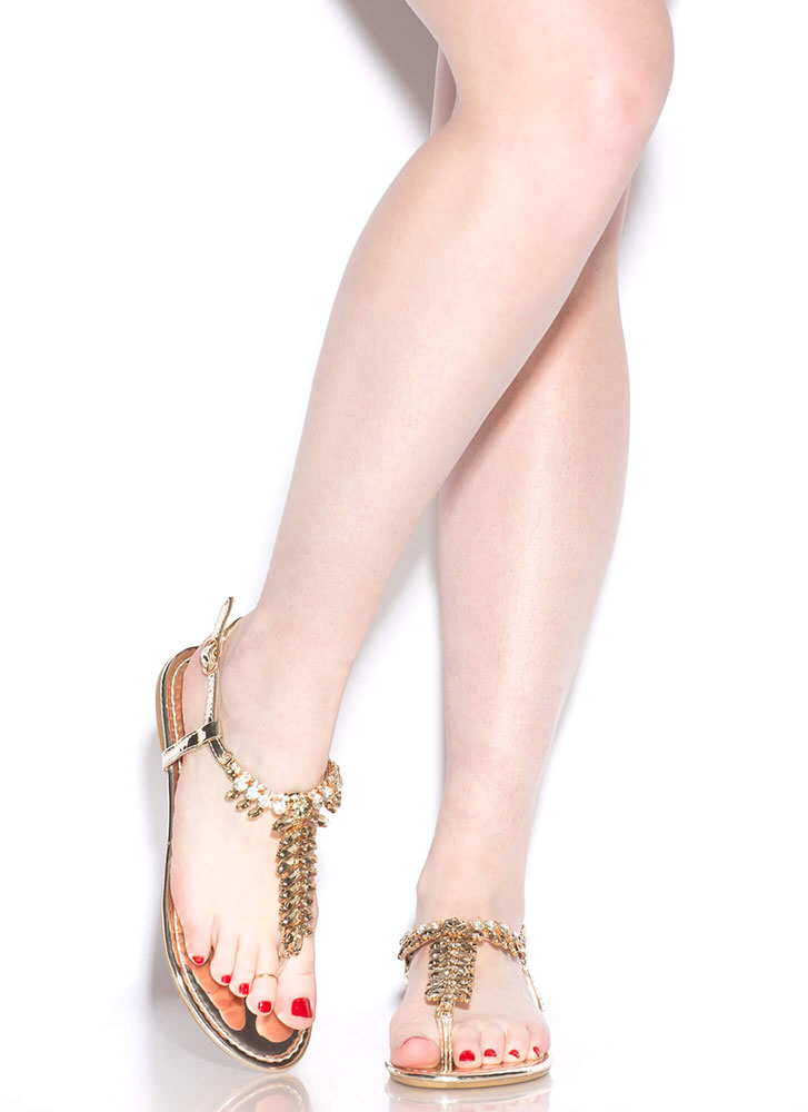 Leafy Paradise Jeweled T-Strap Sandals GOLD
