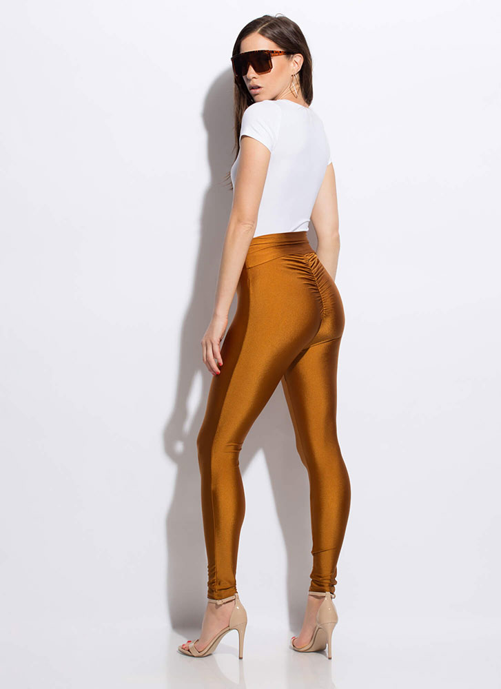 Put It In Reverse Ruched Nylon Leggings MUSTARD
