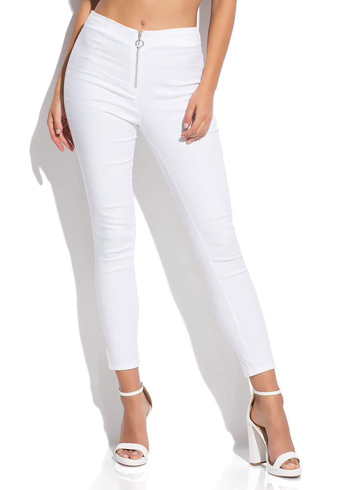 Ring Of Fire Zipper-Front Skinny Pants WHITE