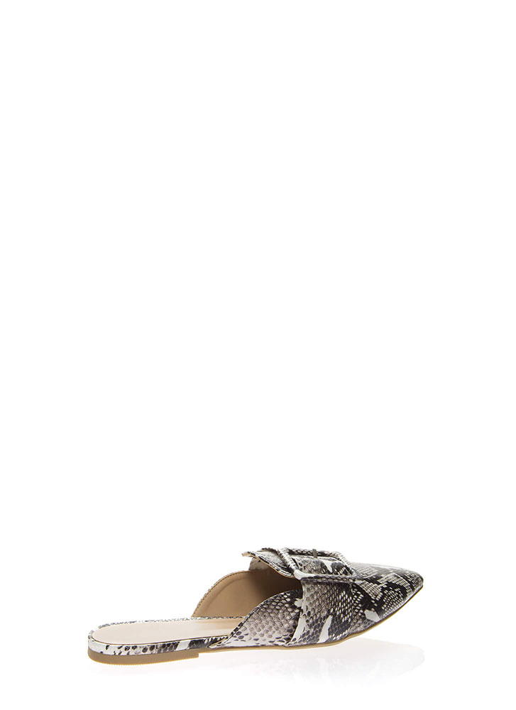 Snake Out Pointy Buckled Mule Flats SNAKE