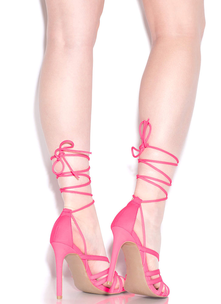 Strings And Straps Caged Lace-Up Heels NEONPINK