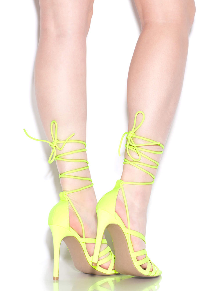 Strings And Straps Caged Lace-Up Heels NEONYELLOW