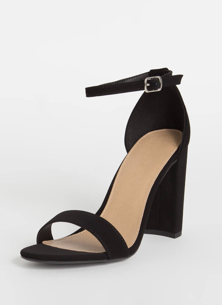 Forever Yours Chunky Ankle Strap Heels BLACK
