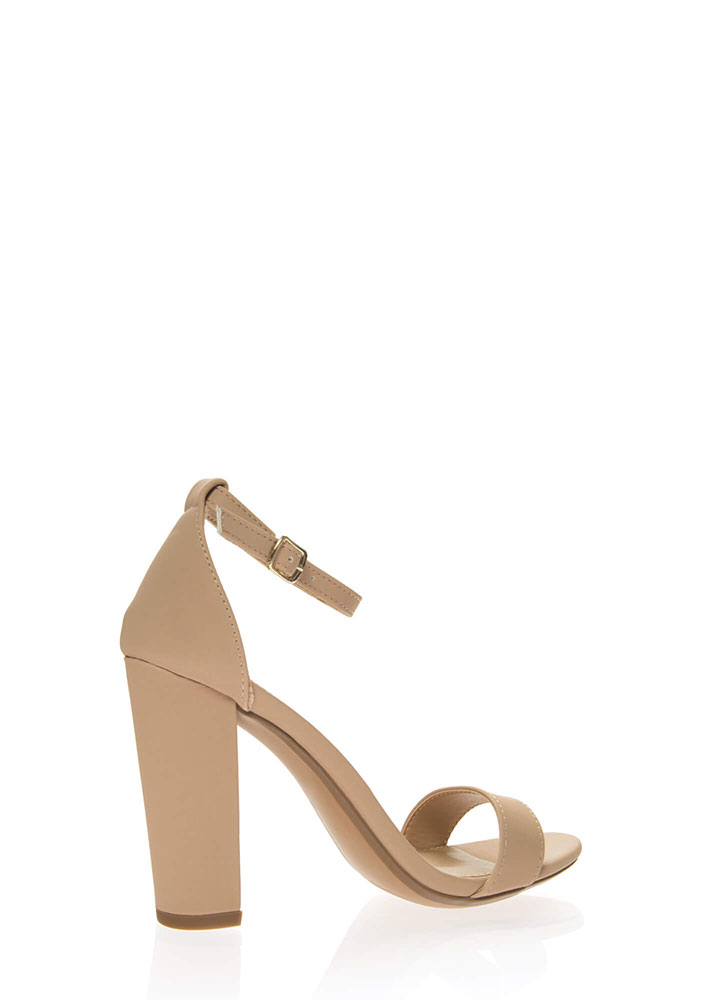 Forever Yours Chunky Ankle Strap Heels NUDE