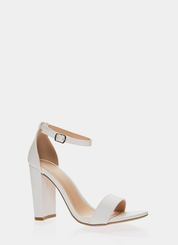 Forever Yours Chunky Ankle Strap Heels WHITE