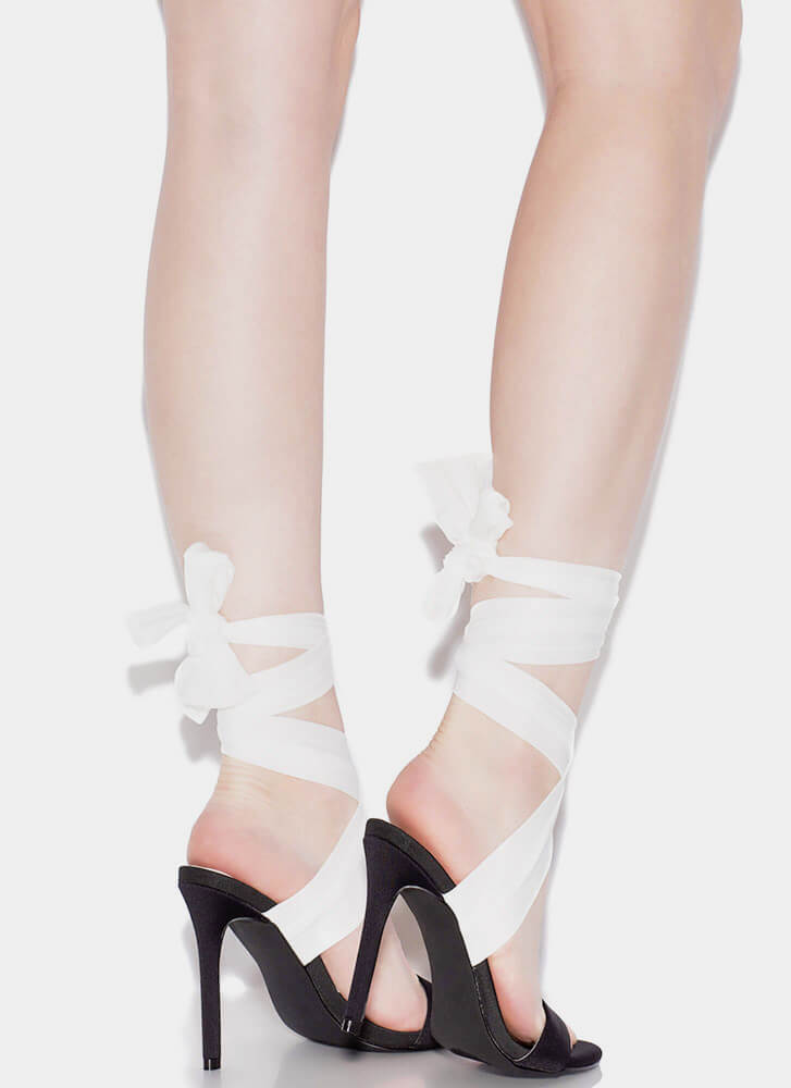 Sash Me If You Can Lace-Up Heels BLACKWHITE