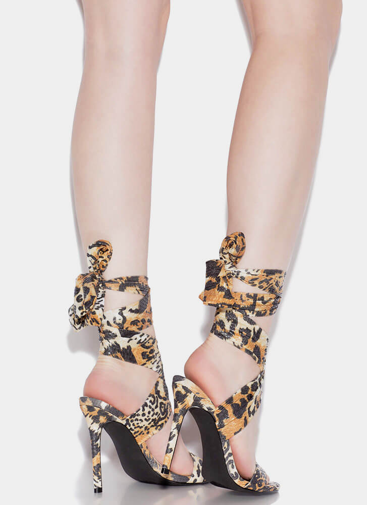 Sash Me If You Can Lace-Up Heels LEOPARD