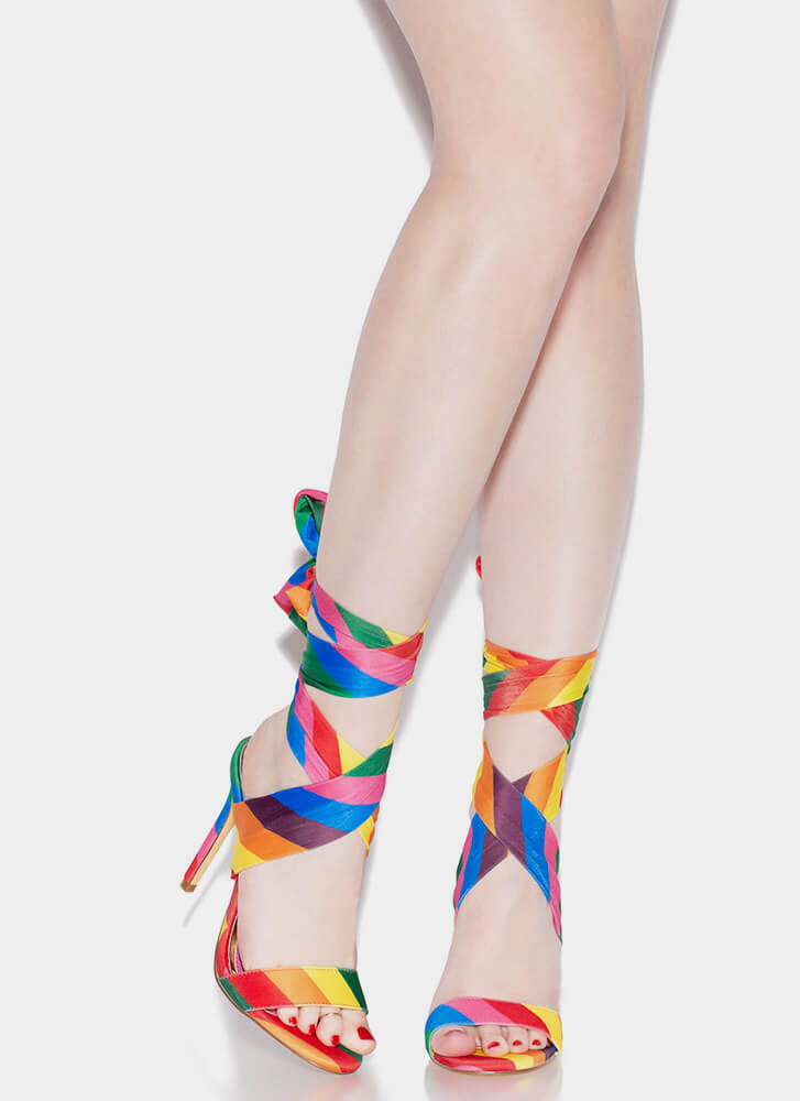 Sash Me If You Can Lace-Up Heels RAINBOW