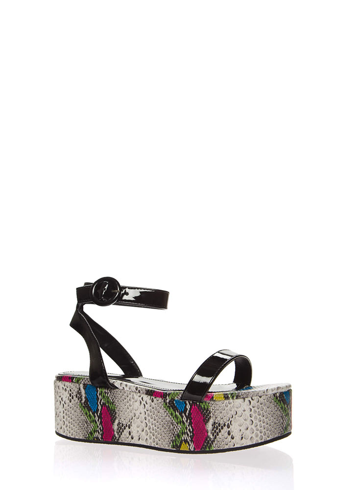 High Time Snake Print Platform Sandals MULTI