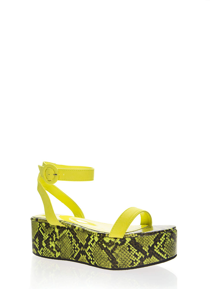 High Time Snake Print Platform Sandals YELLOW