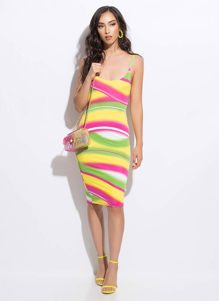 On A Curve Airbrush Print Dress MULTI