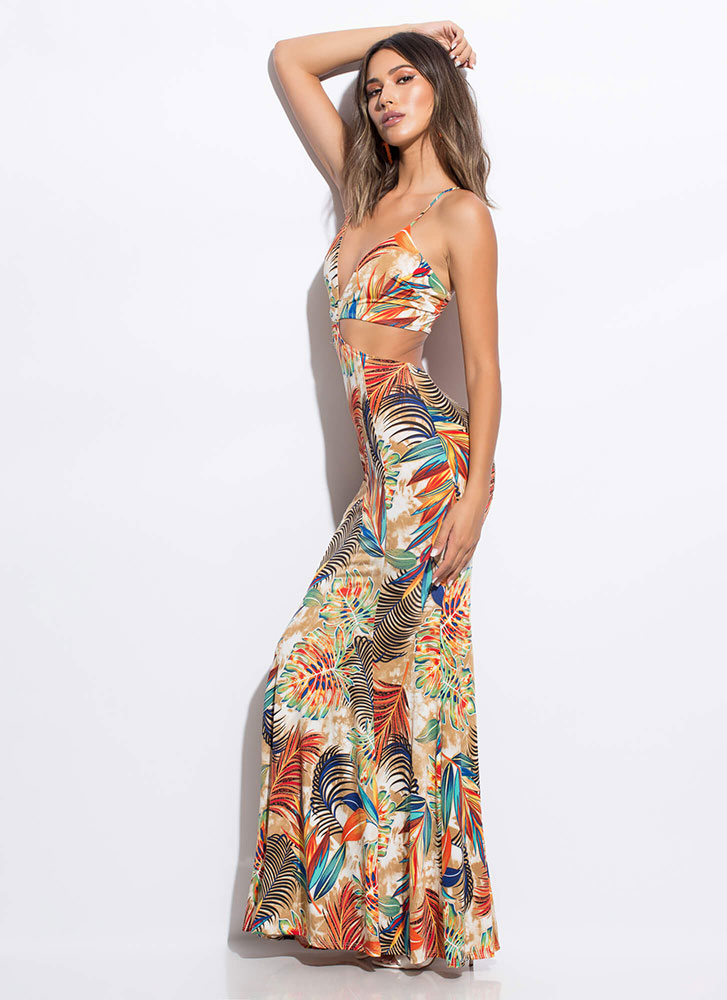 Cabo Cantina Tropical Cut-Out Maxi Dress TAUPEMULTI