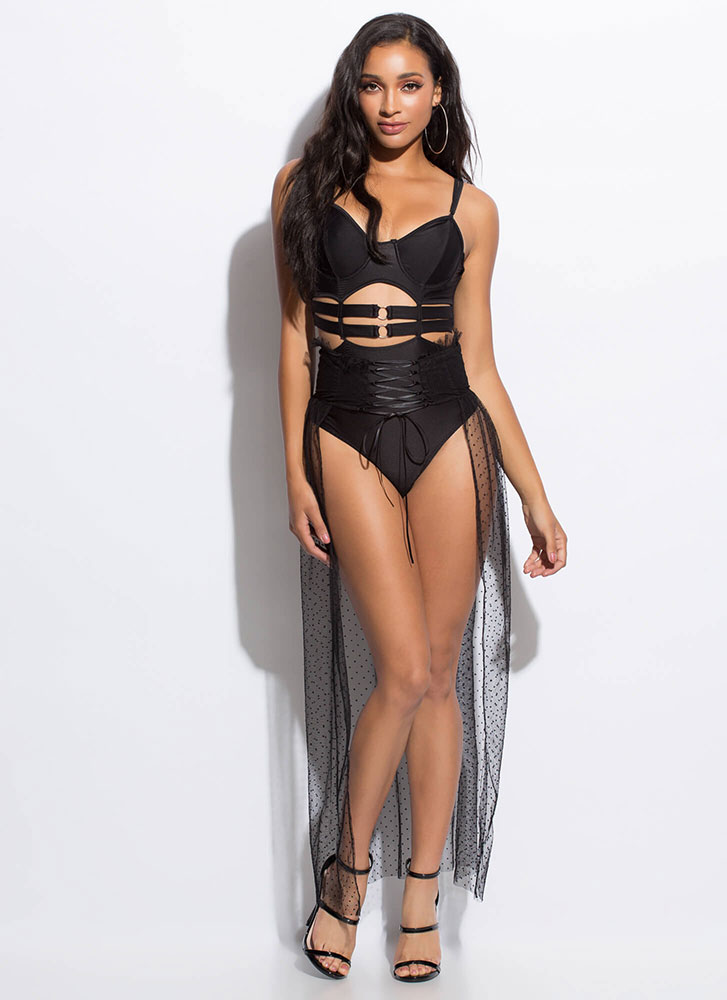Hot Spots Lace-Up Mesh Cover-Up Skirt BLACK