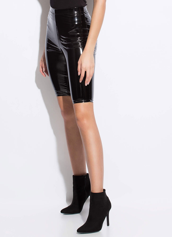 Hi Gloss Faux Patent Biker Shorts BLACK