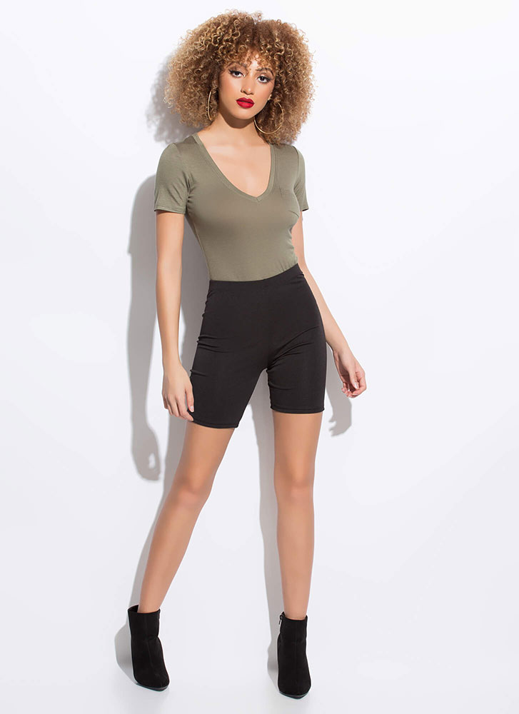 Fits To A Tee Pocketed V-Neck Bodysuit GREEN