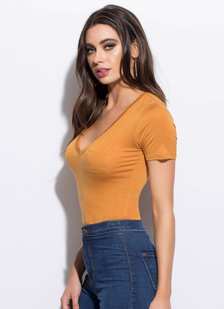 Fits To A Tee Pocketed V-Neck Bodysuit MUSTARD